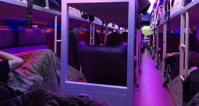 Sleeper bus in Vietnam interior